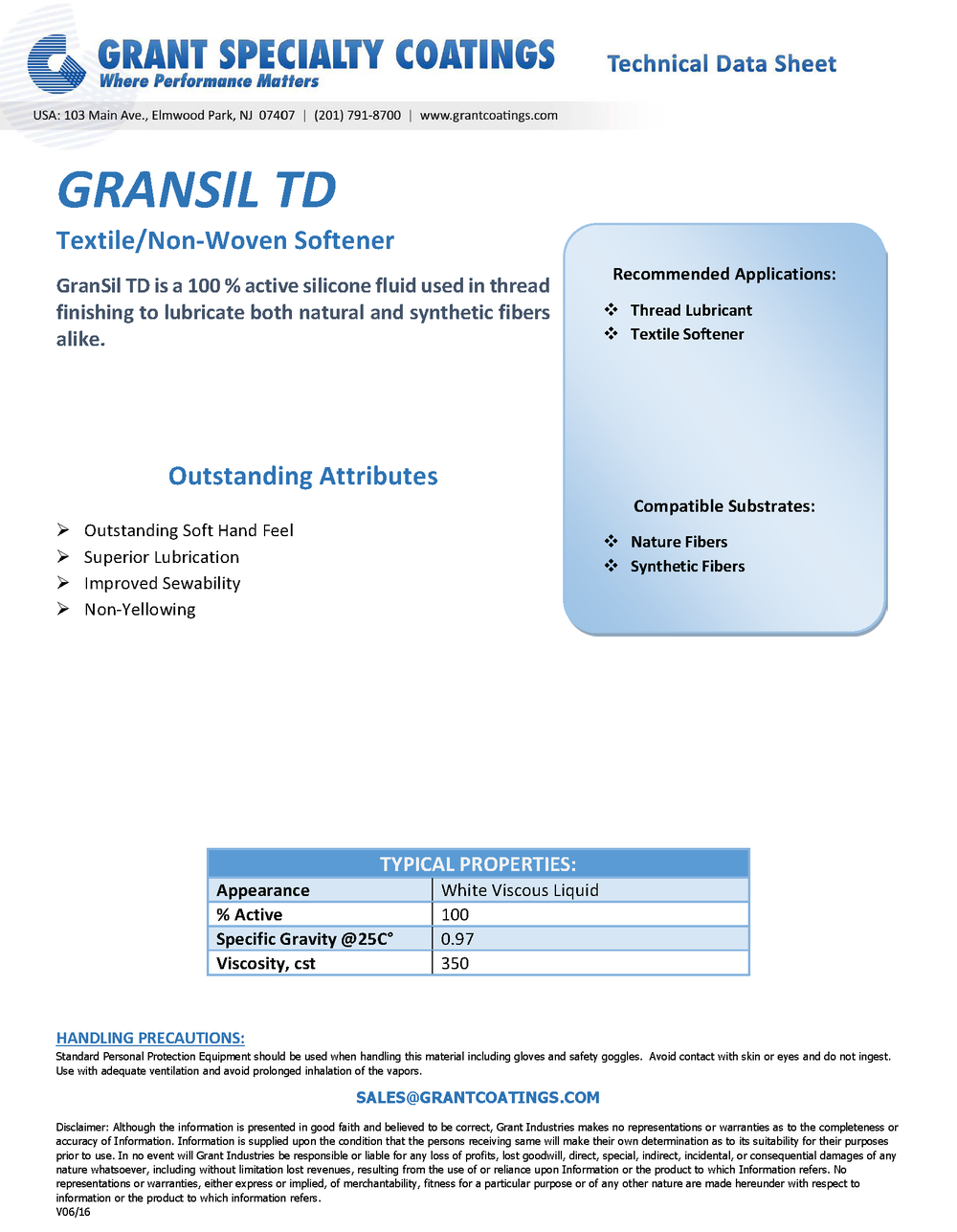 Non-Woven Processing Auxiliary Lubricant GranSil TD.png