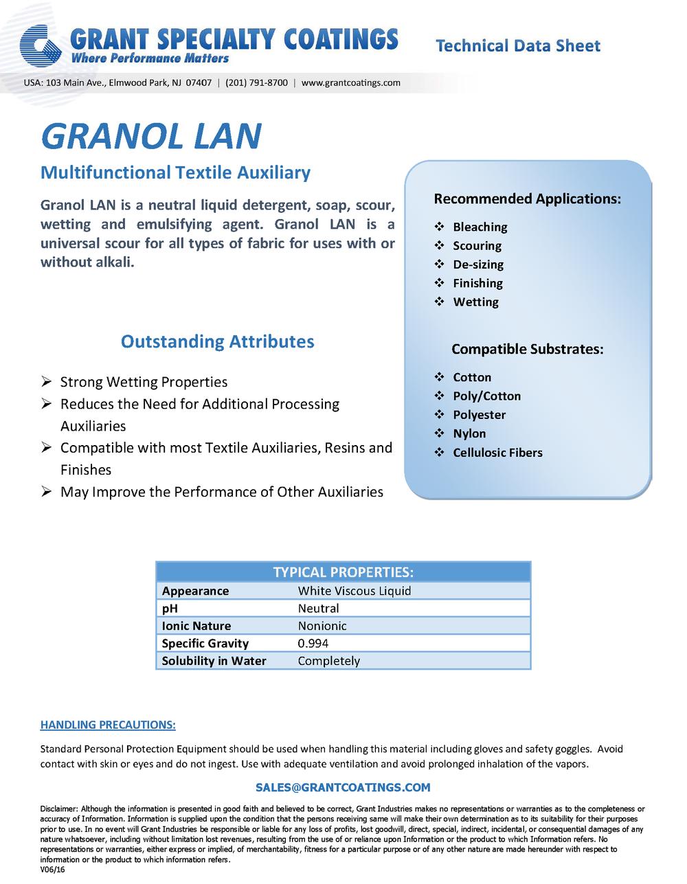 Textile Auxiliary Multifunctional Granol LAN