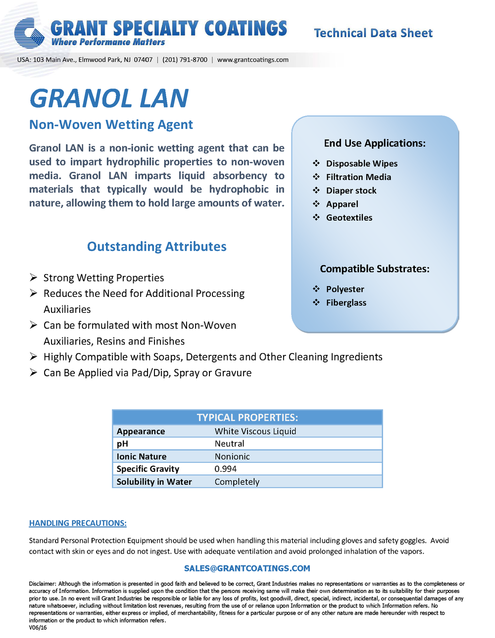 Non-Woven Wetting Agent Granol LAN