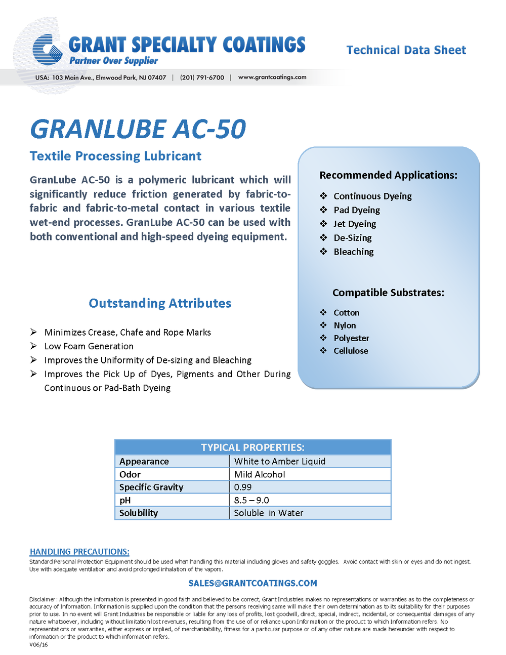 Textile Processing Lubricant GranLube AC-50