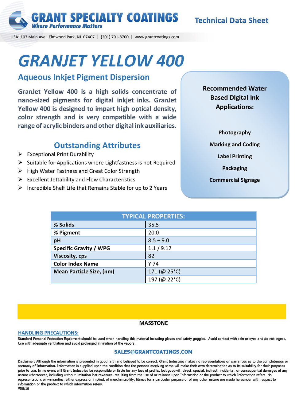 Water Based Inkjet Color Concentrate Yellow