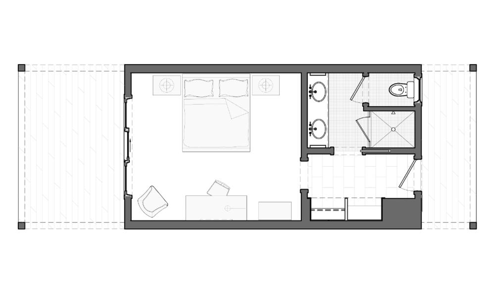 Lodge Double Queen Floor Plan