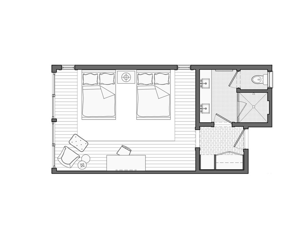 Lodge Double Queen Floor Plan