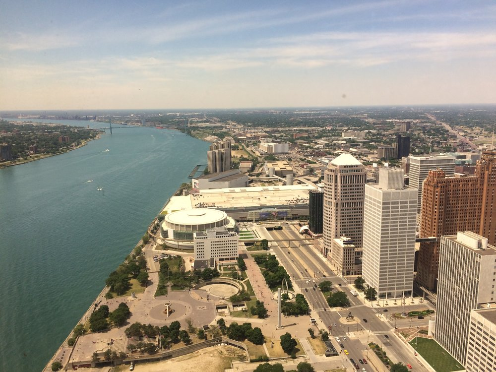 Hart Plaza & Cobo Arena from the Renaissance Center - Detroit, MI