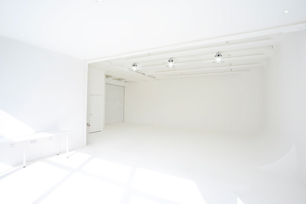 Studio A with L-shaped cove, from the Make-up and changing room side at The Brighton Studio