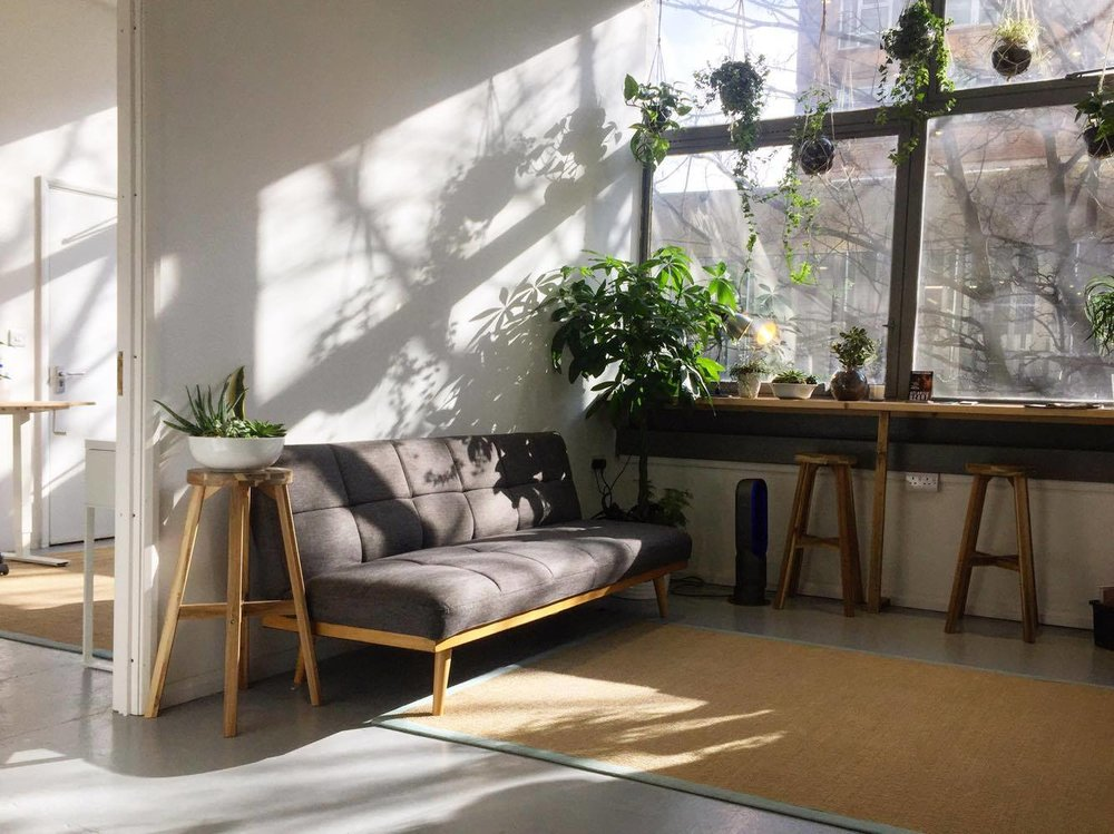 Breakout space with sofa in the morning light at The Brighton Studio