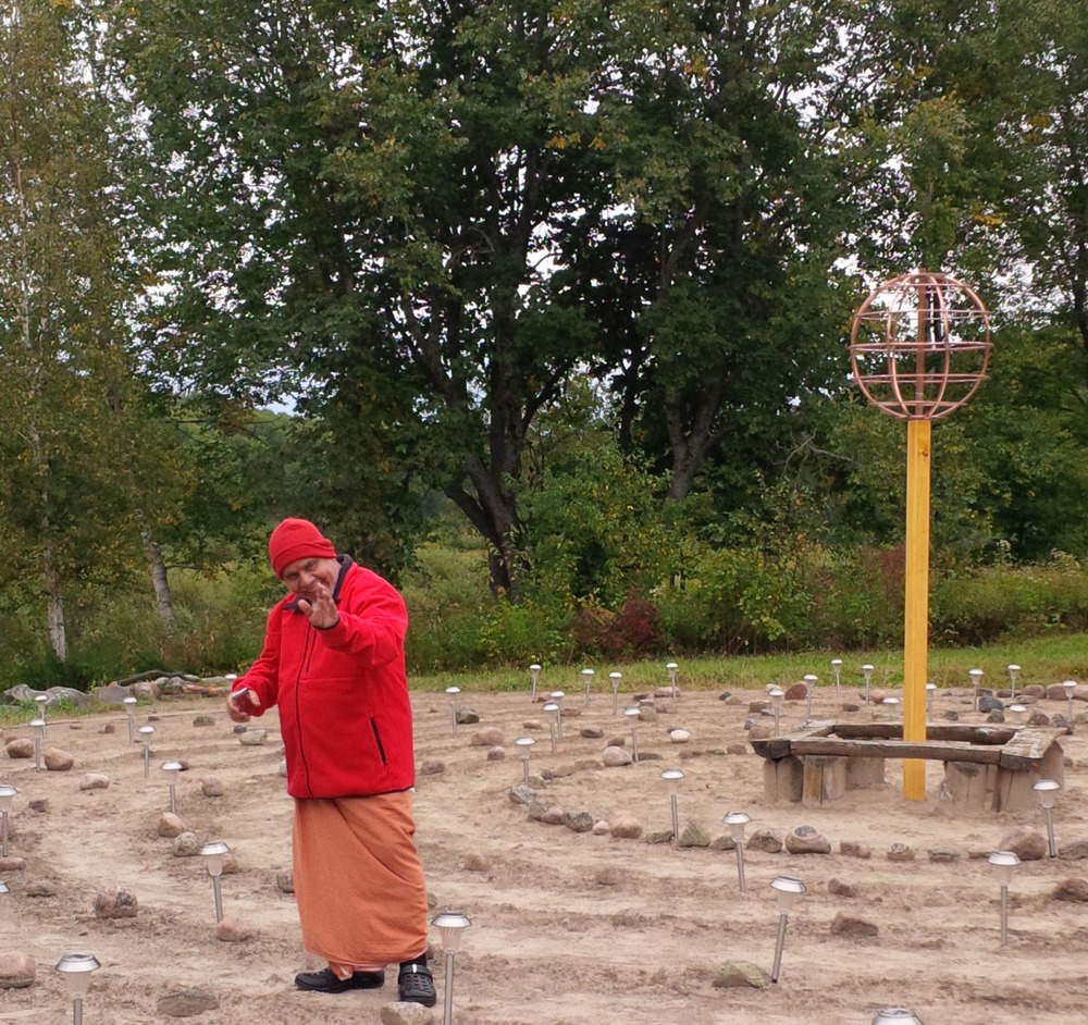 Krishnan Namboodri Vedic Astrologer and priest from Kerala, India, walked, pufiried and blessed the Peace Labyrinth to evoke the most powerful healing potentials.