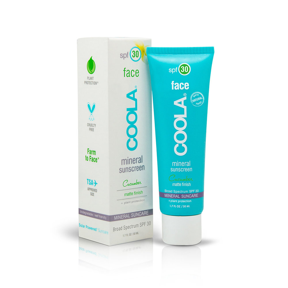 COOLA Mineral Cucumber Matte SPF 30 // $36   (all skin types, great for oily)