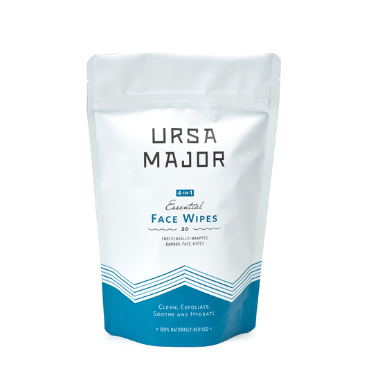 Ursa major essential face wipe20 count - $24 - Good For: All skin typesBrightening, clarifying bamboo face wipe