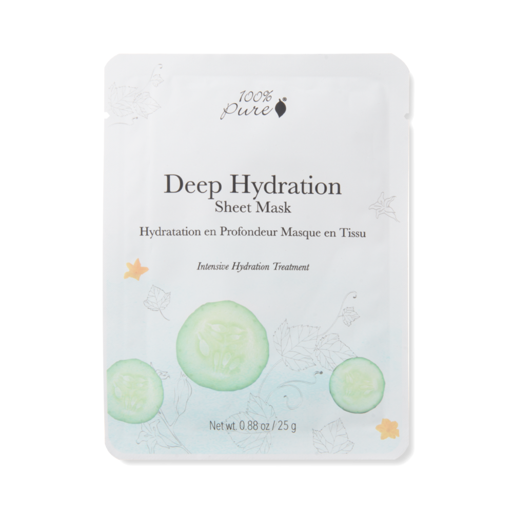 100% Pure Deep Hydration sheet mask // single - $6 // 5 pack - $28 - Good For: Dry, sensitive, combination, dehydratedAn intensely hydrating sheet mask with cucumber, aloe water, vegan hyaluronic acid plant ceramides.