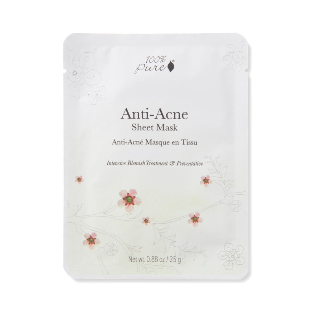 100% Pure Anti-acne sheet Mask // single - $6 // 5 pack - $28 - Good For: Acne prone, clogged and congestedA skin clarifying mask made with salicylic acid, tea tree, parsley, and rosemary to purify; and seaweed and basil to detoxify.