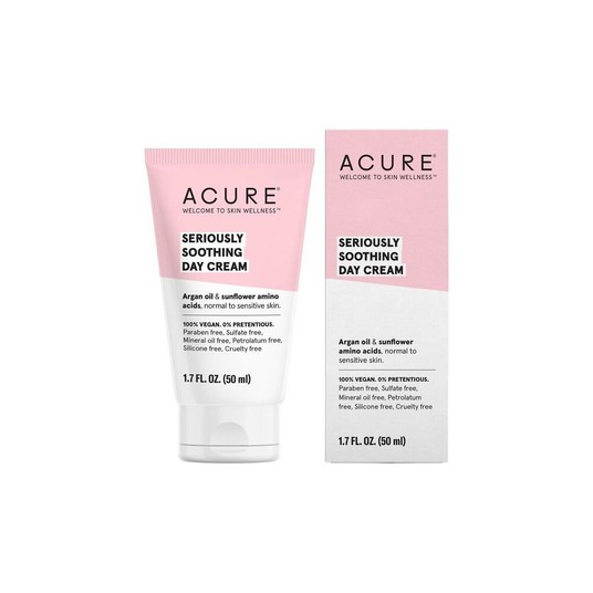 Acure Seriously Soothing Day Cream //$18 - Good For: Sensitive & dryChamomile & sunflower amino acids soothe sensitive skin
