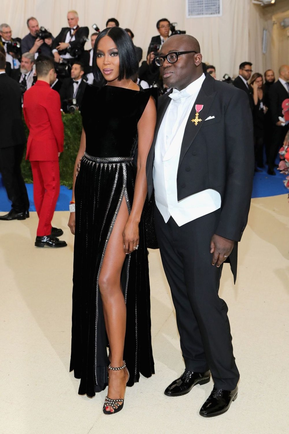 Naomi Campbell and Edward Enninful, wearing a custom Burberry tuxedo