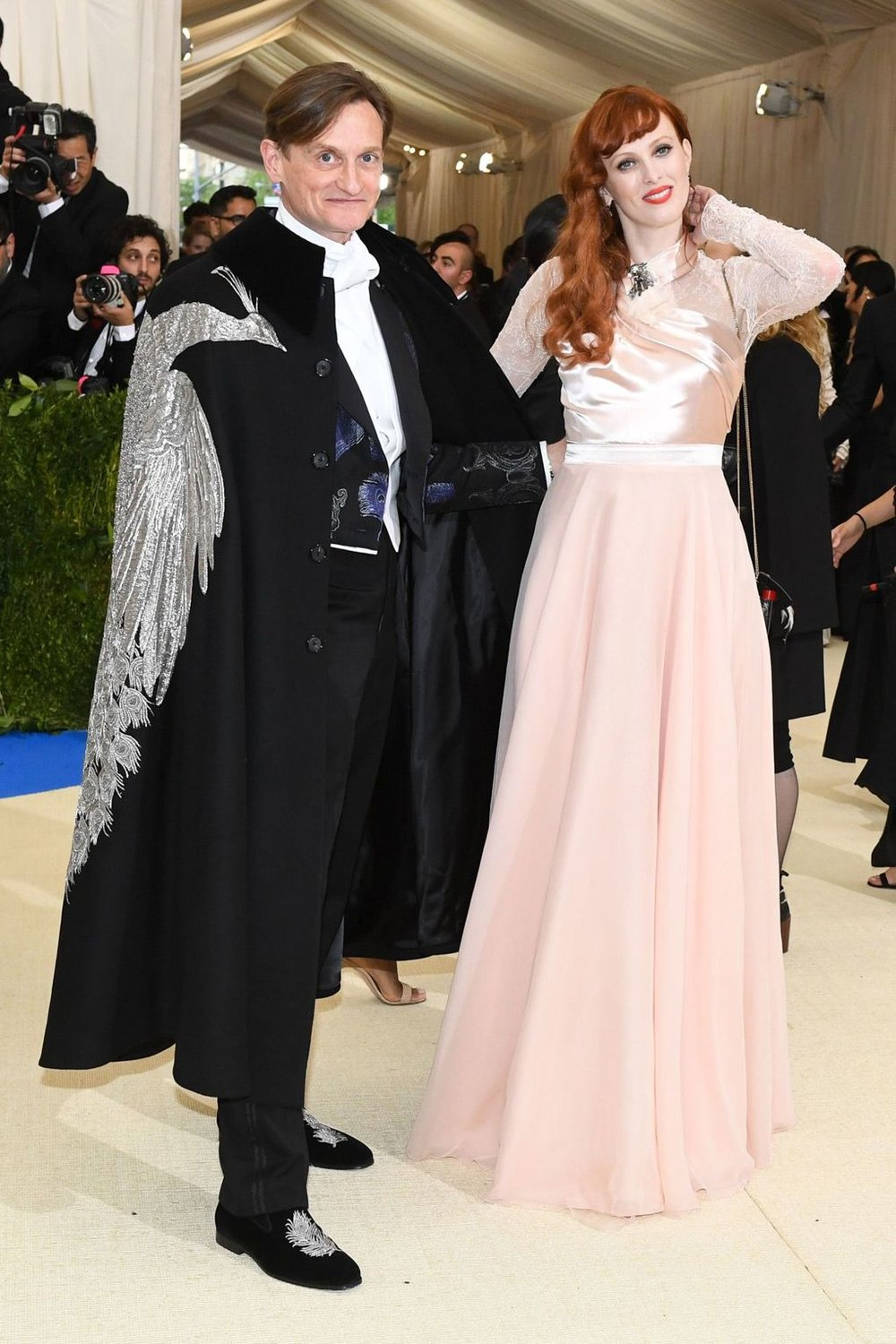 Hamish Bowles and Karen Elson