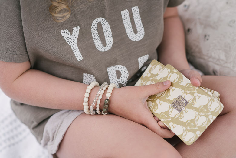 Cream, Toddler Bracelet set  paired with a single  Pyrite Bracelet  , YOU ARE MAGIC Shirt - Riley and Cru