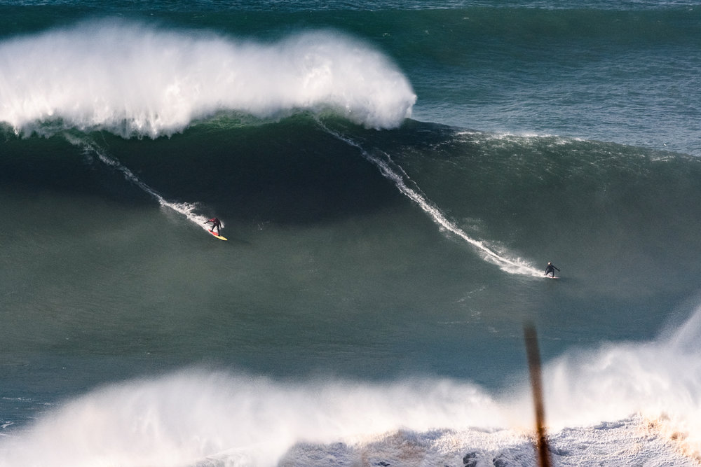 Clarke-Jones and Dupont at Nazaré by Correia