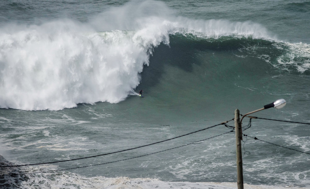 "Pedro ""Scooby"" Vianna at Nazaré by Button"