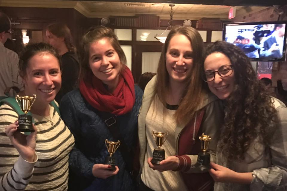 """Alyssa Faith,Melanie Feldman,Rebecca Levine and Rachel Rubin (playing under the team name """"The Breast and the Brightest"""")were winners of the 2016 Word Play Tournament-- a multi-stage tournament featuring teams of 2-4 competing in Codenames, Taboo, Boggle and Bananagrams. Many played, but none were as good as The Breast and the Brightest."""