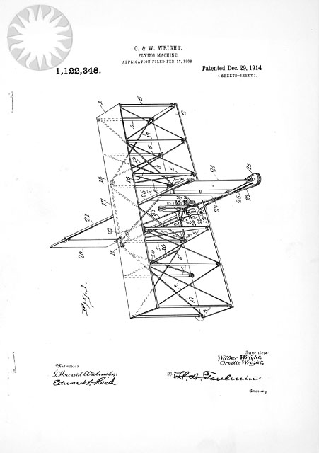 Page one of the Wright Flying Machine Patent drawings