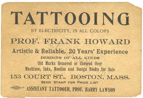 Harry lawson boston tattooer tattooedboston frank howard business card ca 1914 courtesy of lyletuttle reheart Images