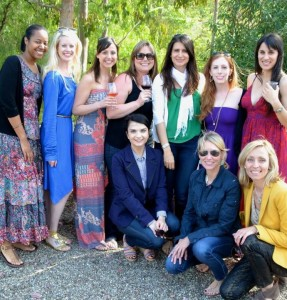 """This picture is from Isabel's birthday that celebrated at Malibu Wines with our GFC friends. We all brought components for a picnic and hung out there most of the day sipping wine and listening to music."" --Shoshana (in the red dress, back row, far right)"