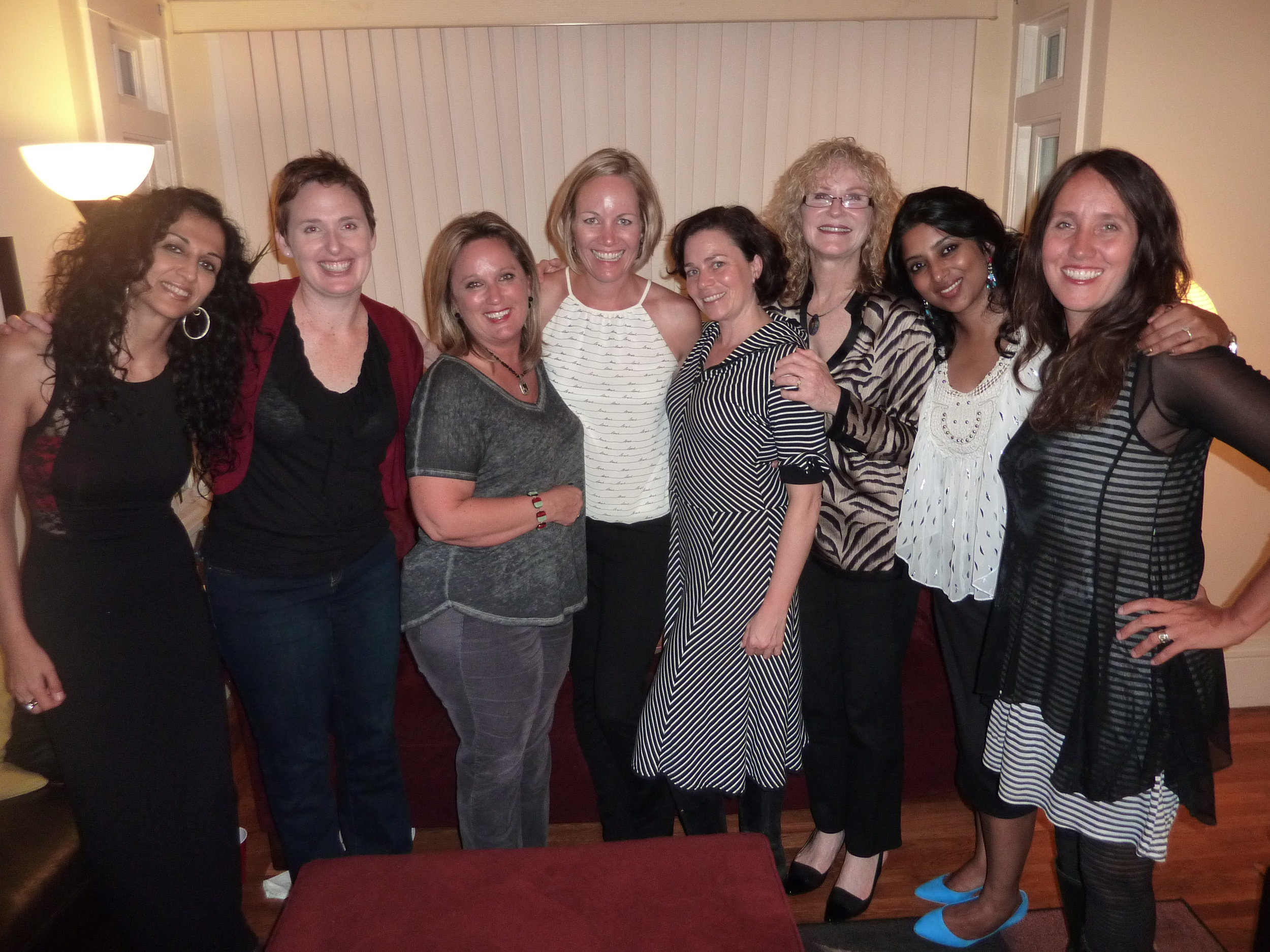 That's me in the white tank--the little black lines read love...love...love...:)-- surrounded by some of the women I'm lucky enough to call friends.  Call me a grateful birthday girl!