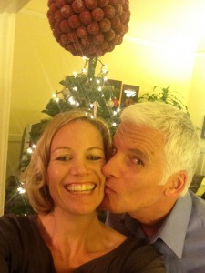 "Holiday love from me and my hubby, Greg Nelson, to you.  May you stand under your metaphoric ""kissing ball"" this season with courage and hope. xoxo"