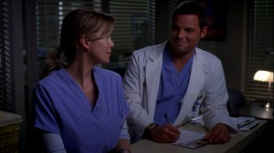 Meredith and Alex, platonic friends on Grey's Anatomy, as they keep practicing what friendship is supposed to look like between them.