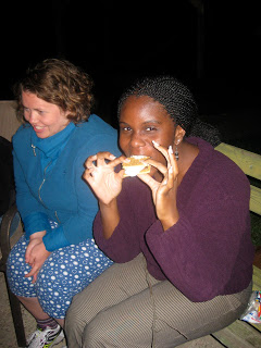 First Year Fellow, Erica LeCounte eating her very first smore