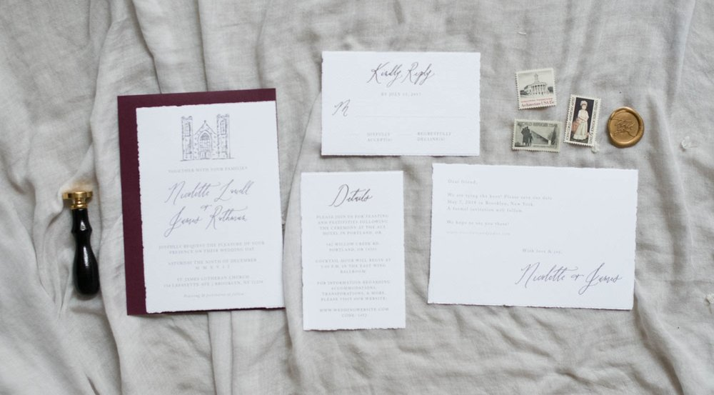 venue sketch invitation calligraphy