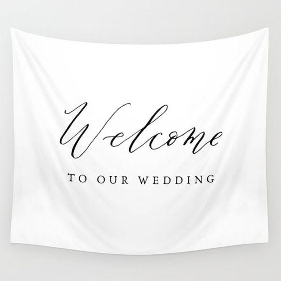 wedding calligraphy fabric banner