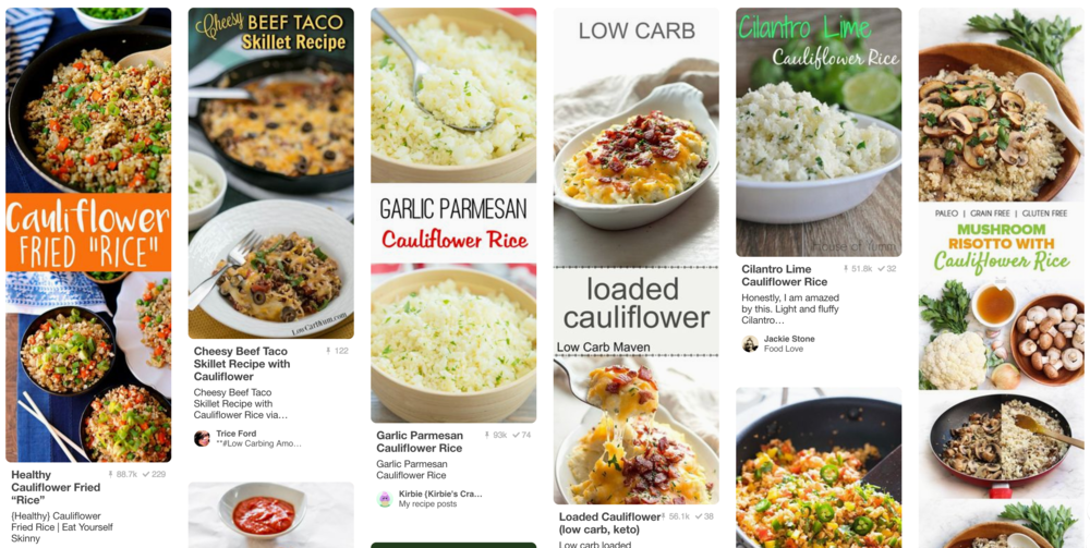 Click image above for riced cauliflower recipes.