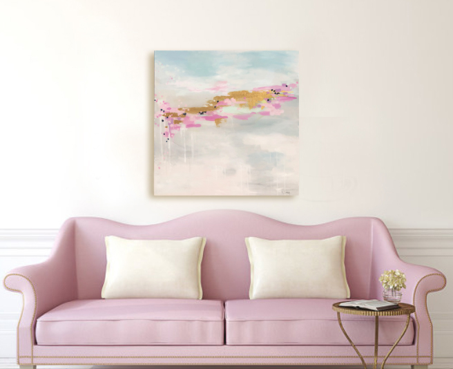 Pink Skies Ahead above pink couch Kristin Cooney Studio