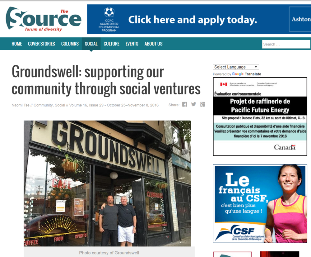 The Source, Groundswell Social Ventures