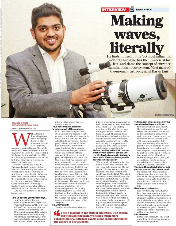 Interview in Times Mirror