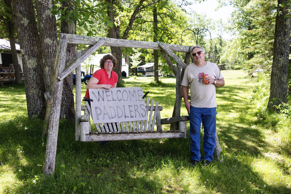 Our wonderful river angels Sandy and Jeff at their home on the Mississippi River! That sign has been there since I paddled the river! Thank you both!