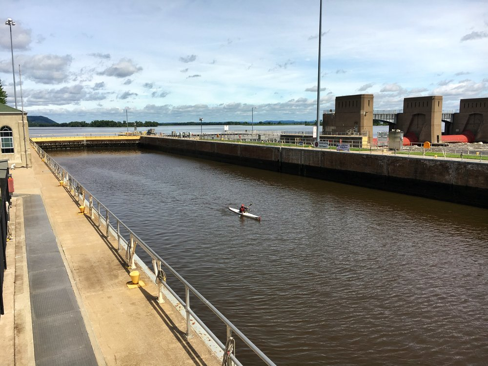 Mike finally being able to go through a Lock and Dam in La Crosse, WI.