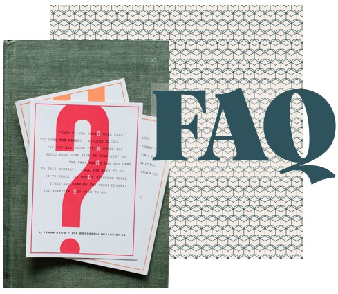 A dark green book with postcards on the cover and the word FAQ printed over it.