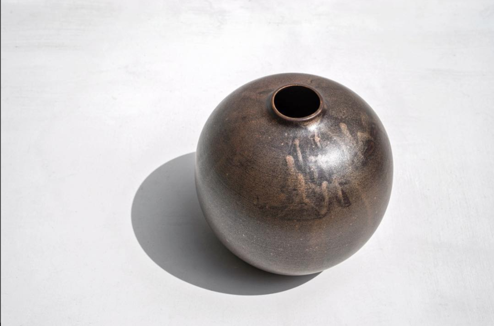 "Lainey Fink Scott, ""Gold Temmoku Circle Vase,"" wheel thrown clay with Gold Temmoku glaze"
