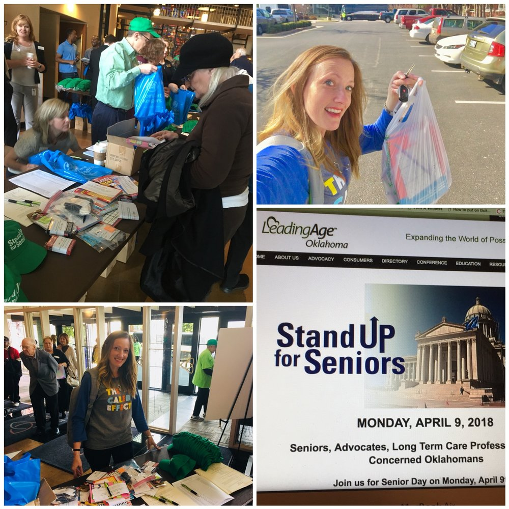 "Stop #5: St. Luke's Downtown (WHAT?) That's right. AFTER we had already decided to switch this month to celebrate seniors, I found this ""Stand Up for Seniors"" event hosted by LeadingAge Oklahoma. It was originally scheduled to be at the State Capitol but because of the teacher walkout it just ""coincidentally"" moved to the same place where you went to daycare. I felt bad not sticking around or saying ""hi"" to anyone, but I did drive past your class, playground, and drop-off/pick-up parking. Whew. — with  LeadingAge  at  St. Luke's United Methodist Church ."