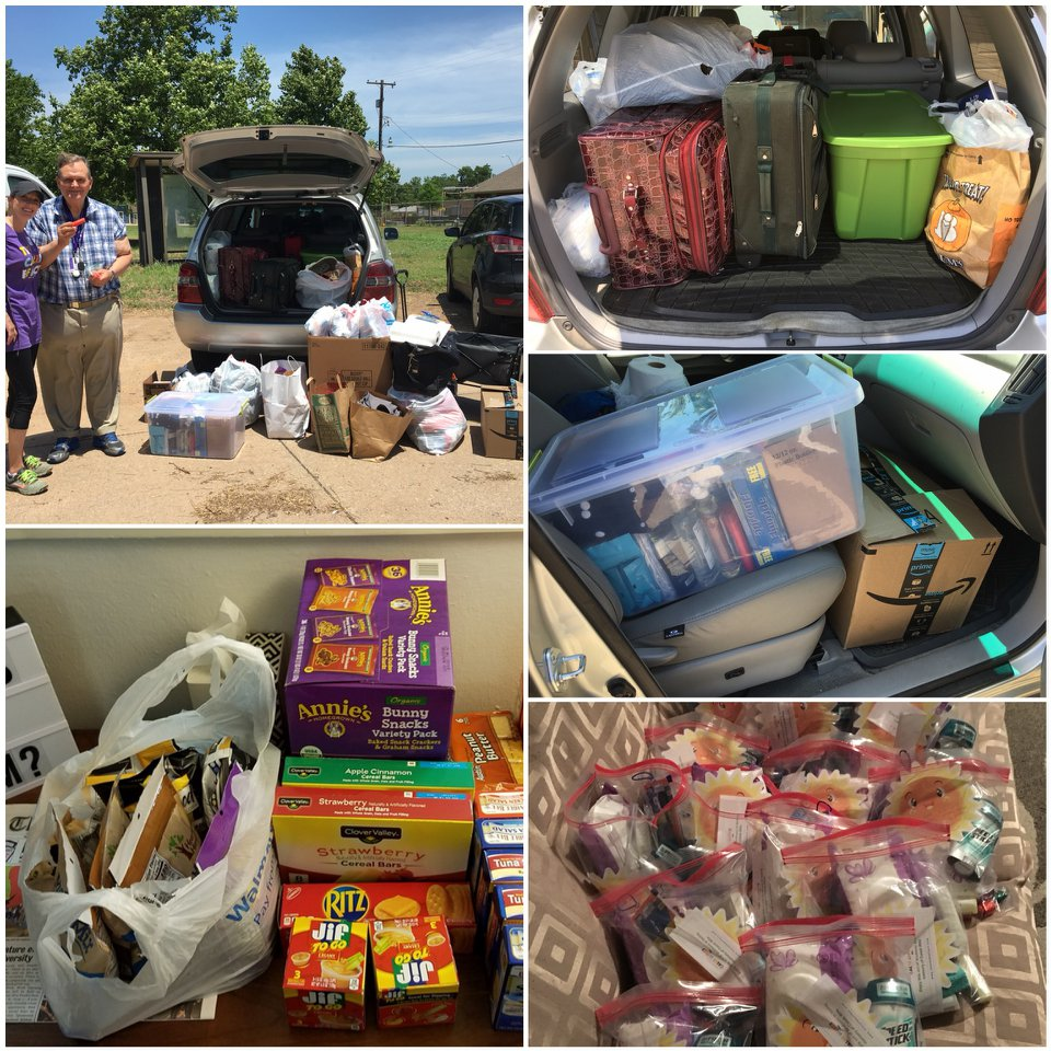 Even after our early delivery, we had to take both cars to get all of these supplies to their new home!