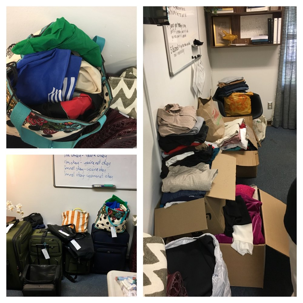Every one of these suitcases, bags, and boxes were full of clothes, shoes, and necessary supplies.
