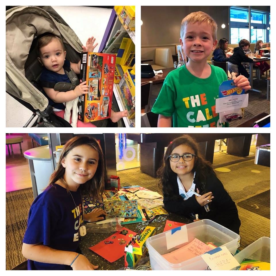 Caleb's friends brought awesome Legos and their creativity to help us. — with  Matt Burns ,  Christine Burk ,  Adriana Mejia  and  Natalie Burns  at  Main Event .