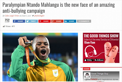 GoodThingsGuy.com - Ntando Mahlangu, a Paralympic silver medalist is the new face of the Cartoon Network's anti-bullying campaign 'Be a Buddy, Not a Bully'!