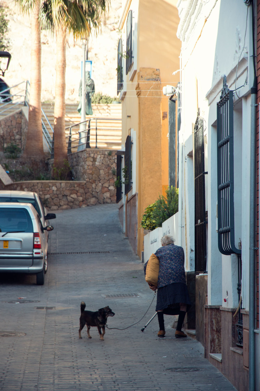 Spanish lady walking dog.