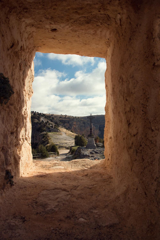 Through the window of the San Frutos Hermitage, Spain.