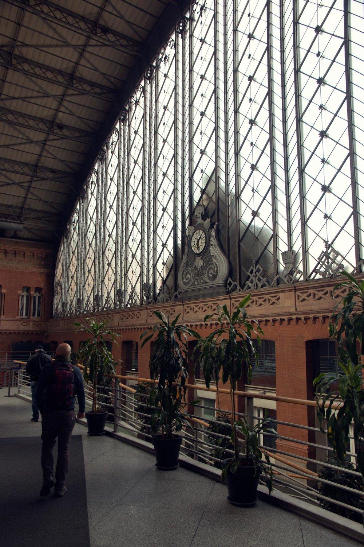 Ornate glasswork in Madrid Train Station.