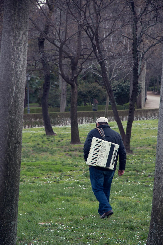 Accordian player in Madrid's Buen Retiro Park