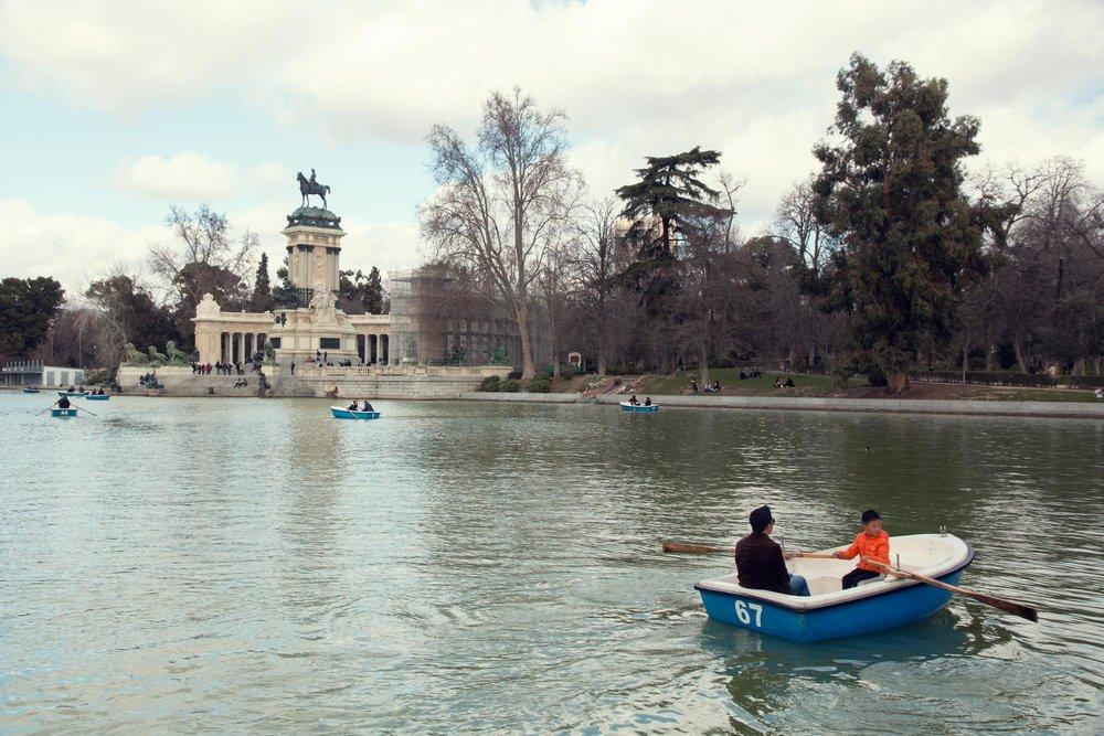 The boating lake in Madrid's Buen Retiro Park.