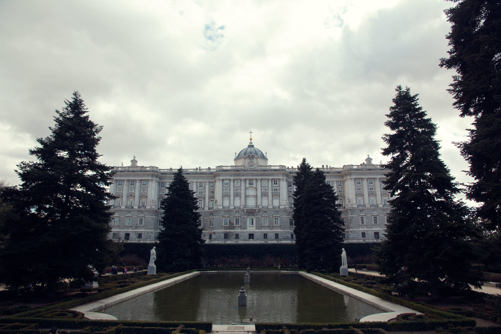 The Royal Palace of Madrid from the Palace gardens.
